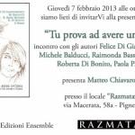 """""""Tu prova ad avere un'idea. Ripensando De André e Gaber"""": giovedì al Razmataz (Pigneto - Roma)"""